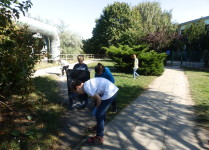 Dzieci zbierające śmieci z terenu wokół szkoły