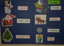 słowniczek w formie plakatu, opisany bałwanek, gwiazdor, choinka, renofer, prezenty i inne