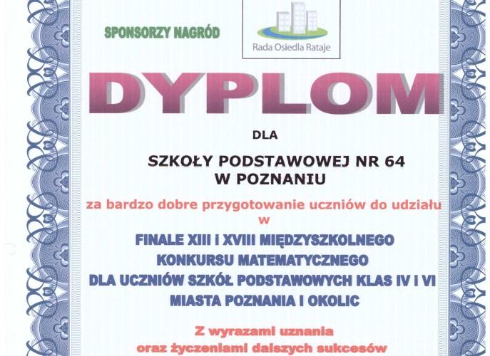 dyplom dla szkoły za udział w konkursie