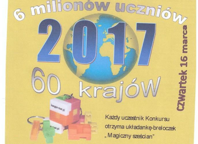 platak informacyjny o tegorocznej edycji konkursu matematycznego Kangur